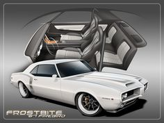 Frostbite - 1967 Firebird (b) 1969 Firebird, Pontiac Firebird Trans Am, Custom Muscle Cars, Custom Cars, Hot Rods, Amc Javelin, Pontiac Cars, Car Illustration, Pony Car