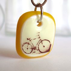 Bicycle Glass Pendant by @ellecools $25 #bike #jewelry #pendant #white #yellow #illustration #cycle #handmade #etsy