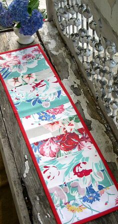 Vintage Tablecloth Table Runner in Red and Aqua by VintageHome