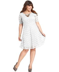 Love Squared Plus Size Short-Sleeve Lace A-Line Dress - Dresses - Plus Sizes - Macy's