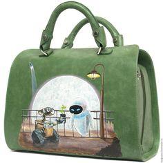 Купить Валли - зеленый, рисунок, роспись, роспись по коже, ручная роспись, зеленая кожа