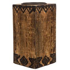 ec3373e0a48b Large Wood Aztec Candle Holder