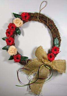 Στεφάνι με απλά υλικά!!! Κόκκινα λουλούδια που μπορείς να τα φτιάξεις και μόνος σου!!!