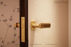 'Dewhurst' solid brass lever handle with unique rota-bearing sprung rose photographed in our brushed brass waxed finish. Property Design, Metal Finishes, Best Interior, Gatsby, Solid Brass, Door Handles, Wax, Wall Lights, Design Inspiration