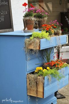 Greek Blue Dresser Turned Planter | perfectly imperfect