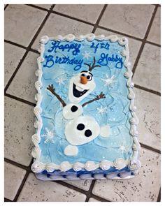 "A ""Frozen"" Olaf 2 layer sheet cake :)"