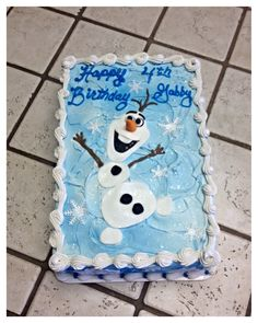 "A ""Frozen"" Olaf 2 layer sheet cake :)"