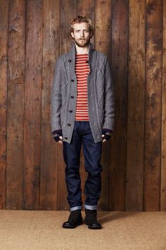 Shop this look on Lookastic:  http://lookastic.com/men/looks/crew-neck-t-shirt-cardigan-gloves-jeans-boots/7146  — Red and White Horizontal Striped Crew-neck T-shirt  — Charcoal Knit Cardigan  — Navy Print Wool Gloves  — Navy Jeans  — Dark Brown Leather Boots