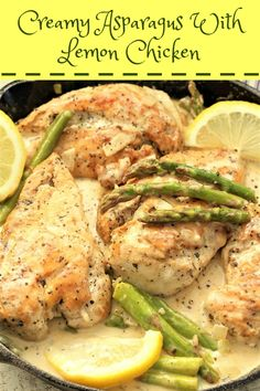 Creamy asparagus with lemon chicken is out of this world. The creamy sauce with the asparagus is a dish that you would get at a fancy restaurant. Lemon Chicken With Asparagus, Creamed Asparagus, Creamy Lemon Chicken, Lemon Butter Chicken, Chicken Asparagus, Esparagus Recipes, Chicken Recipes, Cooking Recipes, Healthy Recipes