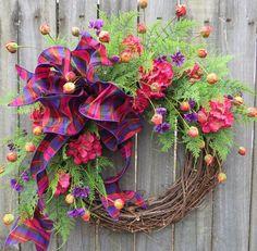Wreath Summer and Springtime Wreath Spring Wreath by HornsHandmade