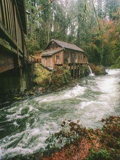 Abandoned log mill on way to Ape Caves, Washington.