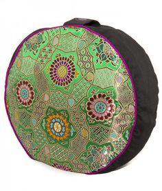 Chakra Meditation Cushion - Green $89  #silk #fairtrade #madeinnepal #meditation #cushion #meditationcushion