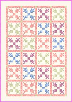 """Honey Bee Quilt --click on the red letters, """"Honey Bee Block,"""" for one page of instructions for 10 inch block"""