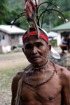 A Bugkalot in traditional tribal garb from Sierra Madre mountains of Northern Luzon. The head dress was significant, and indicated heads taken. #Philippines #Tribal #filipino #pinoy