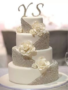 Pretty white blingy bejeweled wedding cake