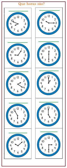 Dê a hora de cada relógio   Sala de Aula – Profª Rérida English Grammar Book, Math Drills, Co Teaching, School Labels, School Calendar, Math Practices, 2nd Grade Math, Kindergarten Worksheets, Childhood Education