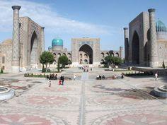 The Registan public square and its three madrasahs. From left to right: Ulugh Beg Madrasah (1417-1420), Tilya-Kori Madrasah (1646-1660) and Sher-Dor Madrasah (1619-1636). Samarkand, Uzbekistan.