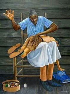 """Grandma's Hands"" by Ernie Barnes and Afro American artist reminds me of Ma Bea. Art Black Love, Black Girl Art, My Black Is Beautiful, Art Girl, Simply Beautiful, African American Artwork, African American History, African Art, African Prints"