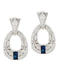 Judith Ripka Pia Blue Sapphire Hoop Earrings