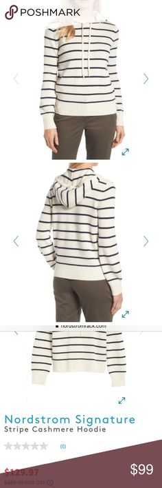 100% Cashmere Blue and Cream Striped Hoodie Get COZY in this cashmere hoodie by Nordstrom Collection. Very thick and plush 100% cashmere construction with blue and cream stripes, ribbed cuffs and hem, and drawstring at hood. Brand new with tags, never worn! Nordstrom Sweaters