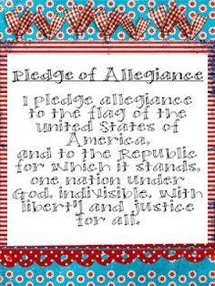 Pledge of Allegiance Poster Freebie