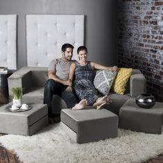 Jaxx Zipline California King Convertible Sleeper Sofa and Ottomans | Overstock.com Shopping - The Best Deals on Sofas & Loveseats