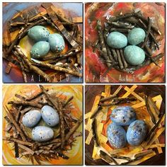 Laura Lohmann Painted Paper eggs from Model Magic