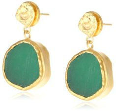 Zariin The Spirited One Green Chalcedony Gold Earrings Zariin. $84.00. Made in India. 22kt gold plated earrings with green chalcedony. Items that are handmade and use natural stones, may vary in size, shape and color