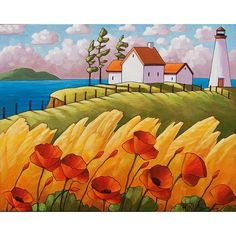 PAINTING ORIGINAL Folk Art Red Poppies Sea Grass Cottages Modern Lighthouse Landscape Contemporary Ocean Coast Fine Artwork C.Horvath 16x20