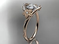 14kt rose gold diamond unique engagement ring,wedding ring ADLR166. $1,355.00, via Etsy.