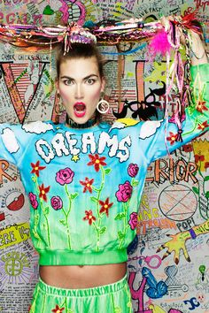 Image of 'DREAM$' SWEATER PRE-ORDER_Discount universe Weird Fashion, Colorful Fashion, Fashion Art, Fashion Outfits, Psychedelic Fashion, Acid House, Street Dance, Traditional Fashion, New Dolls