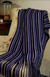 Multi-colored Striped Afghan   AllFreeCrochetAfghanPatterns.com