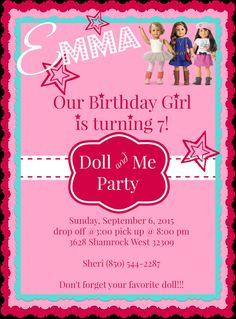 Printable DIY American Girl Doll Tea Party by LittleShindigz...purchase online...quick and easy turnaround!
