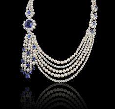 thejewelryvault:  Creator: Garrard Stone(s): Blue Sapphire, Diamond, Akoya Pearl Metal: White Gold Source: Garrard