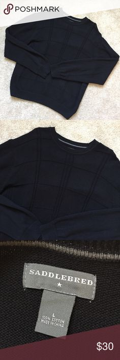 Men's Saddlebred 100% cotton sweater Great sweater for every day wear during fall and winter! Get a jump start on your end of year wardrobe and add this versatile sweater to it! Solid black, 100% cotton, great fit. Excellent condition - worn once. Size: Large Saddlebred Sweaters Crewneck