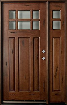 Mahogany Solid Wood Front Entry Door - Single with 1 Sidelite