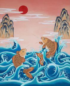 [부산 한국화 화실] 약리도/어리변성룡도/어변성룡도/잉어 그리기/등용문/직장인 취미 미술/주말 성인 미술/채색화 그리기/한국화 순서 : 네이버 블로그 Japanese Pop Art, Japanese Painting, Japanese Illustration, Illustration Art, Beautiful Sea Creatures, Geisha Art, Sea Art, Korean Art, Impressionist Art