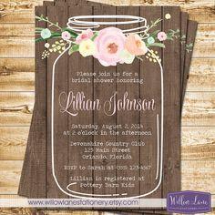 Watercolor Flowers Mason Jar Bridal Shower Invitation Wood Plank Wedding Shower - Rustic Barn Wedding - WillowLaneStationery