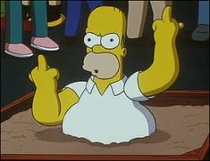 Homer Simpson - F**k you. Gif Bin is your daily source for funny gifs, reaction gifs and funny animated pictures! Large collection of the best gifs. Homer Simpson, Funny Cartoon Gifs, Funny Memes, 9gag Memes, Funny Comics, The Simpsons, Simpson Tumblr, The Way I Feel, Last Day Of School