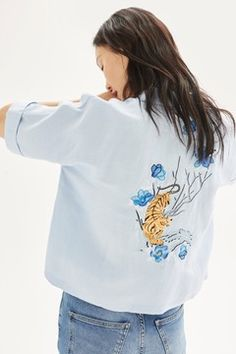 Tiger Embroidered Shirt - New In Fashion - New In - Topshop Europe Bluse Outfit, Tiger Shirt, Topshop, Vogue, Embroidered Shorts, Summer Blouses, Blue Fashion, Women's Fashion, Blue Blouse