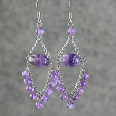 Amethyst dangling chandelier Earrings handmade by AnniDesignsllc