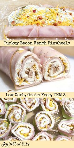Turkey Bacon Ranch Pinwheels - Low Carb, Grain Free, THM S - These are a crowd pleasing, five-minute prep appetizer. My kids gobbled these up when I made them for the Super Bowl last week. They have a lot of flavor with only a little bit of effort. via /joyfilledeats/