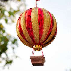 Hot Air Balloon Ornament- can make into a baby mobile or some sort of wind chime maybe