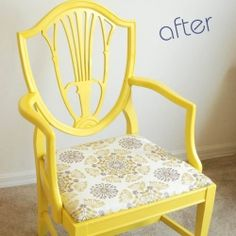 Revamp a throw-away chair with some spray paint and fabric.