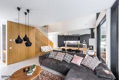Wood suits multiple spaces from livingrooms to outside siding Interior Wood Paneling, Seward Park, Wood Siding, Park Homes, Home Living Room, Interior And Exterior, Couch, Bed, Furniture