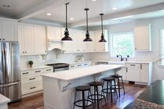 LOVE OF HOMES: Kitchen Remodel {REVEAL} love the ceilings & pendant lights.  Expanded kitchen and opened up into dining room.  Some great ideas