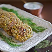 Baked Quinoa Patties with Yogurt Dill Dip by http://www.101cookbooks.com/archives/baked-quinoa-patties-recipe.html