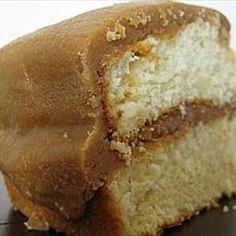 Butter cake with caramel icing.
