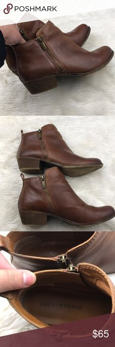 """Lucky Brand """"Basel"""" Double Zip Boots Size 9 In great preloved condition — comes with no box. They have been cleaned and ready for a new home.     Size 9M - sizing wise can also fit an 8.5!    They are super cute and has the perfect distressed leather look.  great addition your wardrobe. Inside interior is in excellent shape.   No trades. Offers are welcome! Lucky Brand Shoes Ankle Boots & Booties"""