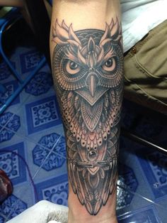Skull Tattoos, Leg Tattoos, Body Art Tattoos, Sleeve Tattoos, Shin Tattoo, Calf Tattoo, Cool Tattoos For Guys, Badass Tattoos, Owl Tattoo Design